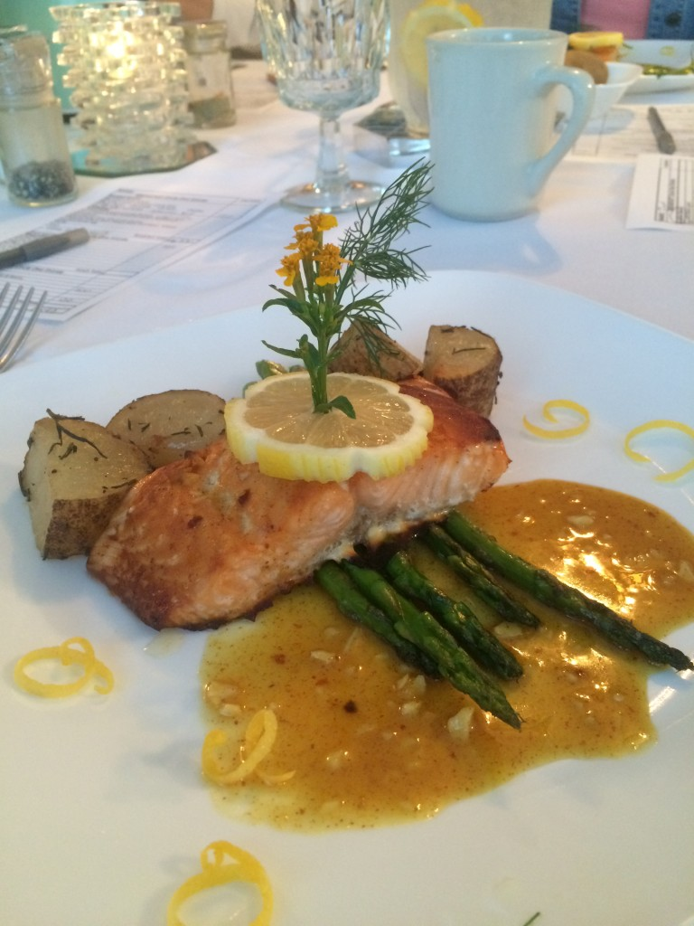 My dinner of Salmon at Deerfield spa