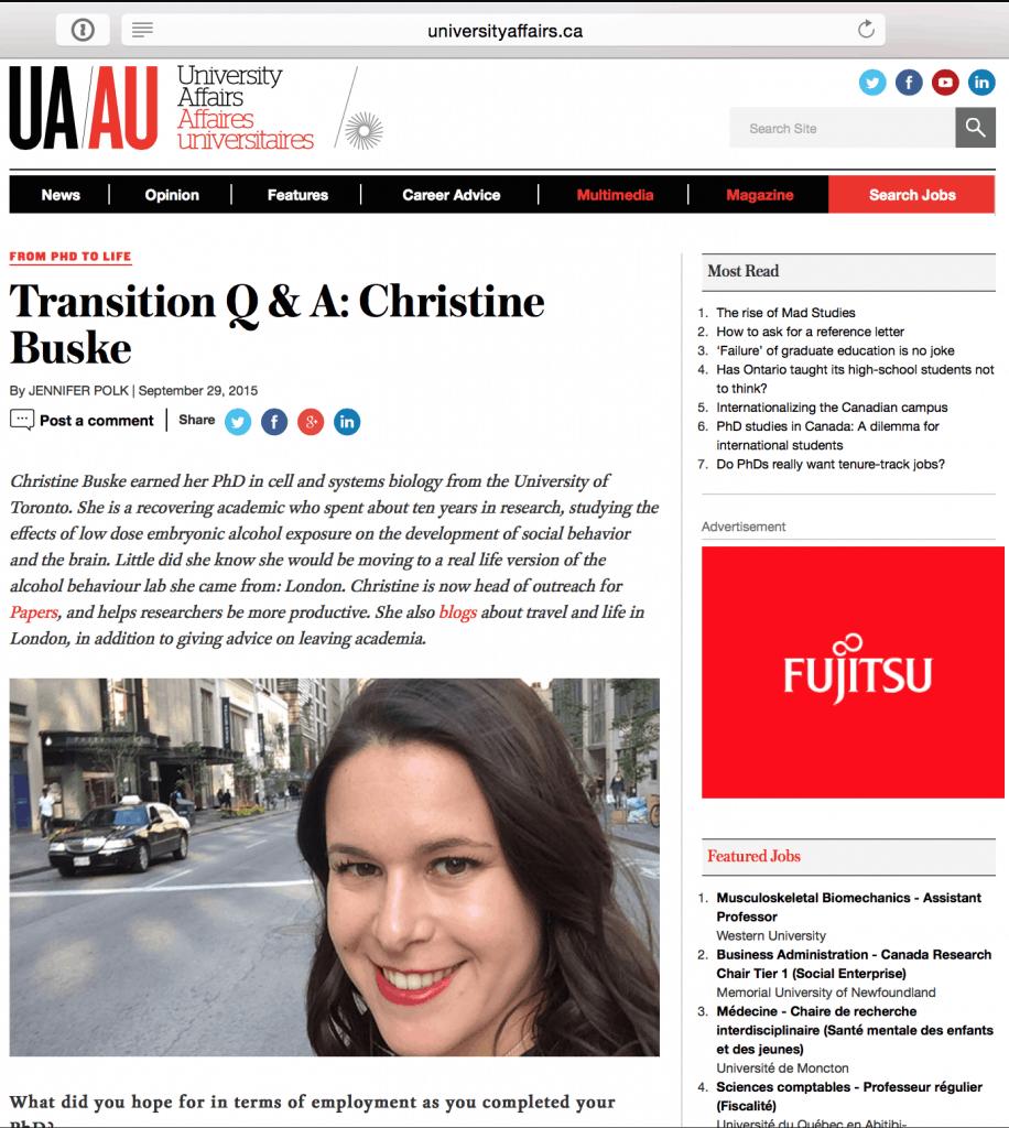 Screenshot of interview on University Affairs